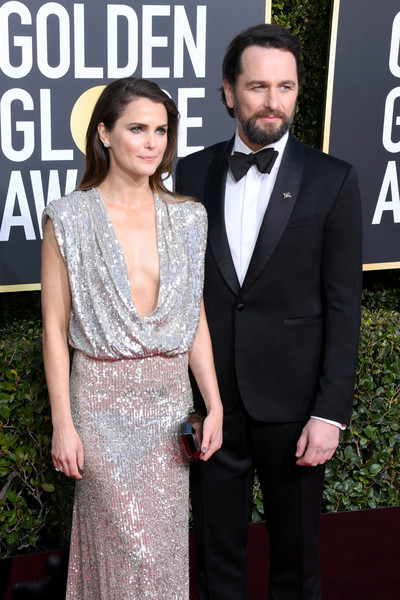 More Pics of Keri Russell Sequin Dress (6 of 12) - Dresses & Skirts Lookbook - StyleBistro [suit,clothing,formal wear,dress,red carpet,carpet,tuxedo,premiere,hairstyle,fashion,arrivals,keri russell,matthew rhys,beverly hills,california,the beverly hilton hotel,golden globe awards]