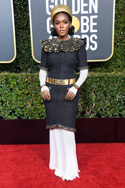 Janelle Monae gave us Cleopatra vibes in a layered Chanel dress with an embellished neckline at the 2019 Golden Globes.