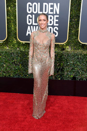 Kristin Cavallari sent temperatures rising in a partially sheer beaded column dress by Amen at the 2019 Golden Globes.