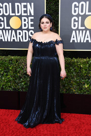 Beanie Feldstein stunned in a shimmering navy off-the-shoulder gown by Oscar de la Renta at the 2020 Golden Globes.
