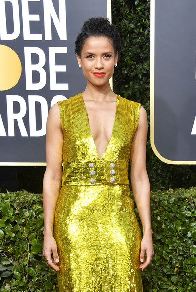 More Pics of Gugu Mbatha-Raw Red Lipstick (4 of 5) - Makeup Lookbook - StyleBistro [dress,clothing,fashion model,cocktail dress,yellow,fashion,beauty,hairstyle,shoulder,carpet,arrivals,gugu mbatha-raw,beverly hills,california,the beverly hilton hotel,golden globe awards,meryl streep,71st golden globe awards,73rd golden globe awards,red carpet,fashion,actor,celebrity,clothing,red carpet fashion]