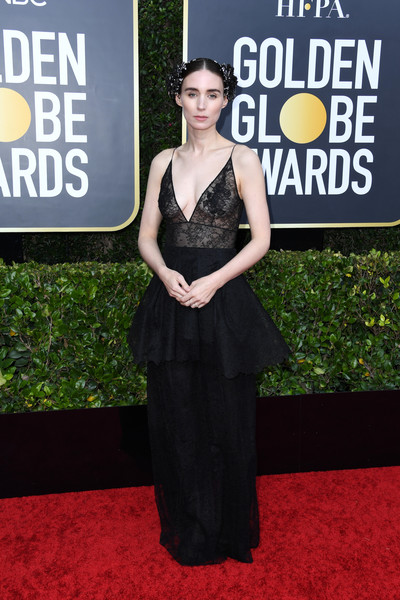 Rooney Mara went for goth glamour in a black lace peplum gown by Givenchy Couture at the 2020 Golden Globes.