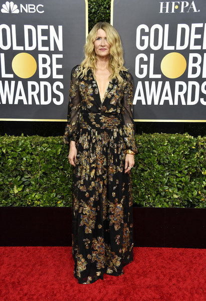 Laura Dern was boho-glam in a Saint Laurent gown with metallic floral embroidery at the 2020 Golden Globes.