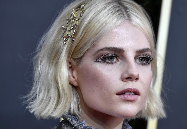 Lucy Boynton adorned her hair with a bejeweled pin for the 2020 Golden Globes.