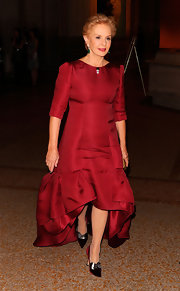 Carolina Herrera paired embellished red pumps with her evening dress at the Apollo Circle benefit.