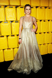 Jessica Stroup looked like a princess in this delicatey pleated metallic gown at the Water Charity Ball.
