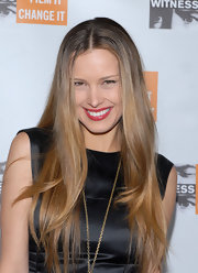 Petra Nemcova wore a slick raspberry red lipstick at the 7th Annual Focus for Change Benefit.