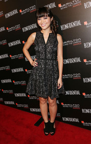 Jessica Lu looked adorable in her Black Halo lace dress during the Hamilton Behind the Camera Awards.
