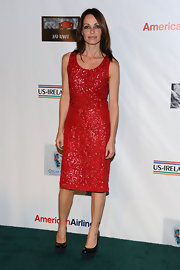 Sharon Corr complemented her bold sequined frock with black platform pumps.