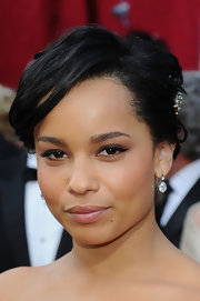 Actress Zoe Kravitz walked the red carpet donning a pair of old mine pear shaped diamond drop earrings, each drop appx 3.50 caratsin silver on gold.