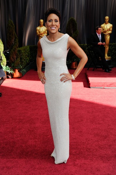 Robin Roberts sparkled at the 2012 Oscars in a beaded white dress with a draped boatneck neckline.