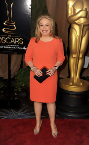 Jacki Weaver showed her vibrant spirit in this orange shift dress at the Academy Awards Nominations Luncheon.