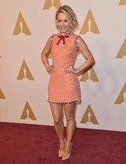 Rachel McAdams looked darling in a rhinestone-trimmed coral paillette dress by Prada at the Academy Awards nominee luncheon.