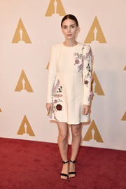 Rooney Mara chose a pair of black ankle-strap sandals to complete her outfit.