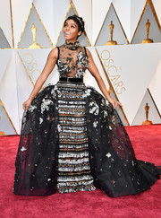 Janelle Monae stole the spotlight with this intricately beaded ball gown by Elie Saab Couture during the 2017 Oscars.