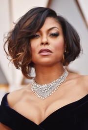 Taraji P. Henson paired her off-the-shoulder dress with a diamond statement necklace by Nirav Modi.