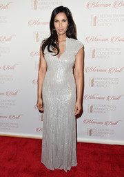 Padma Lakshmi looked radiant on the Blossom Ball red carpet in a curve-hugging silver sequin gown.