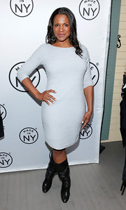 Audra kept her evening look simple and chic with a pale gray three-quarter-length dress.