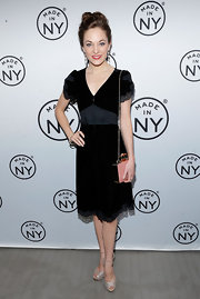 Laura Osnes chose this classic LBD with lace capped sleeves and a flowing lace skirt.