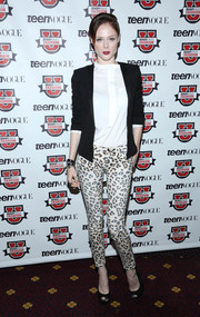 Coco Rocha teamed leopard-print skinnies with a white blouse and a black blazer for a funky-stylish finish at the Teen Vogue University.