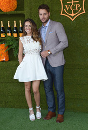 Chrishell Stause looked darling in a little white dress with a lacy bodice at the 2017 Veuve Clicquot Polo Classic.