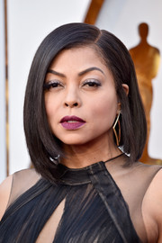 Taraji P. Henson injected a sexy pop of color with a swipe of berry lipstick.