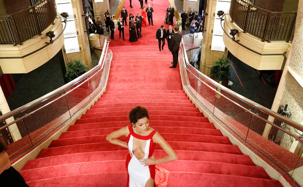 More Pics of Paz Vega Short Emo Cut (1 of 15) - Short Hairstyles Lookbook - StyleBistro [photograph,red,snapshot,red carpet,flooring,stairs,fun,tree,photography,architecture,arrivals,paz vega,academy awards,hollywood highland center,california,90th annual academy awards]