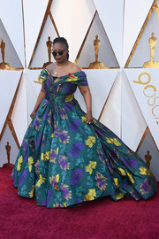 Whoopi Goldberg gave us Scarlett O'Hara vibes with this Christian Siriano floral off-the-shoulder gown at the 2018 Oscars.