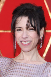 Sally Hawkins wore her hair in a messy updo at the 2018 Oscars.