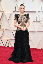 Rooney Mara was edgy-glam in a black lace-bodice cutout gown by Alexander McQueen at the 2020 Oscars.