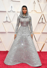 Janelle Monae looked phenomenal in a fully beaded and hooded silver gown by Ralph Lauren at the 2020 Oscars.