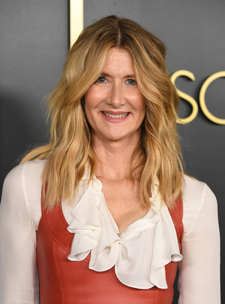 Laura Dern wore her hair in face-framing waves at the 2020 Oscar nominees luncheon.