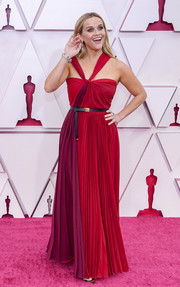 Reese Witherspoon chose a chic color-block halter gown by Dior for the 2021 Oscars.