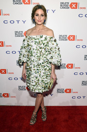 Olivia Palermo got all prettied up in a floral-embroidered off-the-shoulder dress by Marchesa for the Delete Blood Cancer Gala.
