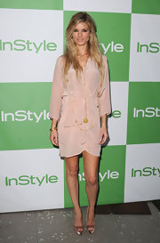 Marisa Miller showed off her sleek soft pink cocktail dress while hitting the InStyle event.