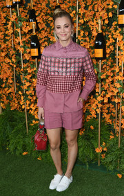 Kaley Cuoco went menswear-chic in a mixed-plaid button-down shirt by Fendi at the Veuve Clicquot Polo Classic Los Angeles.