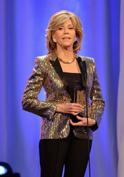 Jane Fonda brought major sparkle to the Movies for Grownups Awards with this gold sequin jacket.