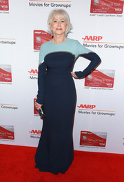 Helen Mirren looked impeccable wearing this Reem Acra column dress, in two shades of blue with a sliver of silver, at the Movies for Grownups Awards.