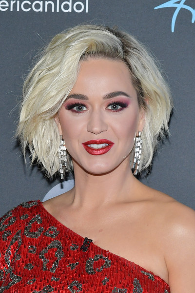 More Pics of Katy Perry One Shoulder Dress (3 of 6) - Dresses & Skirts Lookbook - StyleBistro [american idol,hair,face,blond,hairstyle,eyebrow,lip,chin,beauty,skin,long hair,arrivals,katy perry,taping,california,los angeles,abc]