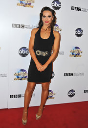 To dress up her classic sleeveless black dress, Karina Smirnoff chose a wide embellished belt.