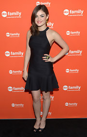 Lucy Hale added a touch of vibrant coral to her fingertips for the ABC Family West Coast Upfronts party.