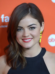 Lucy Hale swept on a touch of warm berry lipstick to complete her fresh-faced look.