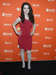 Vanessa Marano went for a simple red one-shoulder dress at the ABC Family event.