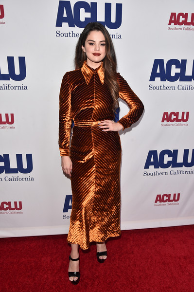 Selena Gomez donned a collared bronze velvet dress by Prada for ACLU SoCal's Bill of Rights Dinner.