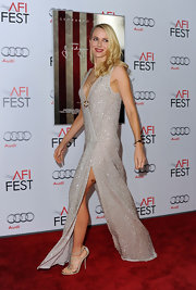 Naomi Watts shined on the red carpet at the 'J. Edgar' opening. She paired her outfit with sparkly strappy sandals.