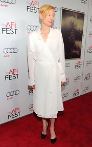 Tilda Swinton wore a white silk wrap dress for the 'We Ned to Talk About Kevin' screening.