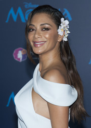 Nicole Scherzinger wore her hair with a side part and a slight wave at the premiere of 'Moana.'
