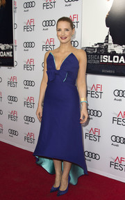 Jessica Chastain looked darling in a bow-embellished blue strapless dress by Prada at the AFI Fest premiere of 'Miss Sloane.'