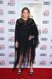 Kesha completed her look with embellished black platforms by Le Silla.