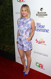 Kaley played the matching game very well when she donned a lilac floral short suit at the premiere of 'Blue Jasmine.'